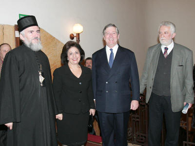 "From left to right: His Grace Bishop of Canada Georgije, HRH Crown Princess Katherine, HRH Crown Prince Alexander II and Mr. Slobodan Rakitic, famous Serbian author before beginning of the literature evening on the occasion of delivering the ""Vuk"" award to the magazine of the Serbian Orthodox Church Eparchy of Canada ""Istocnik"" in Ilija M. Kolarac Foundation in Belgrade"